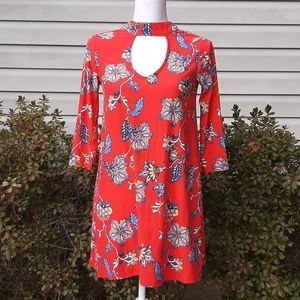 Red Floral Tunic Dress